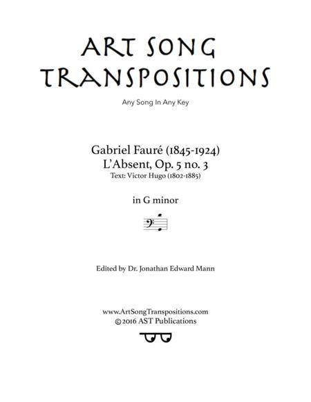 L'absent, Op. 5 no. 3 (G minor, bass clef)