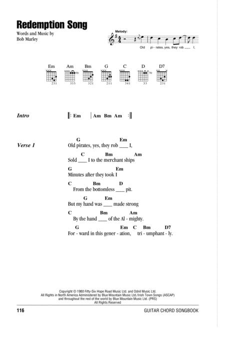 Download Redemption Song Sheet Music By Bob Marley - Sheet Music Plus