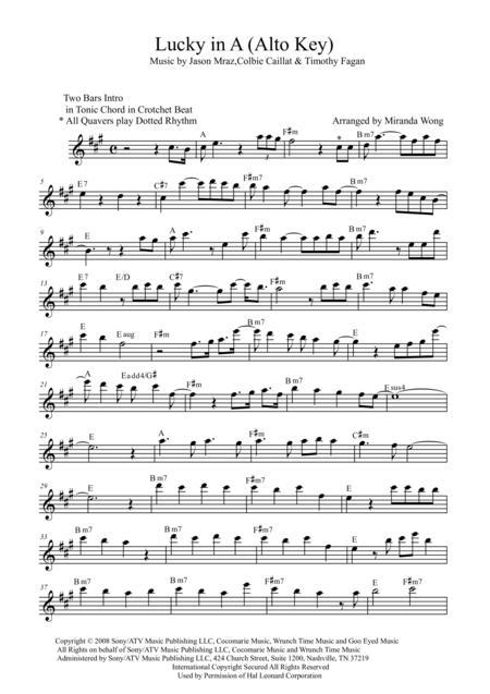 Lucky - Lead Sheet in A Key (Alto Saxophone Solo)