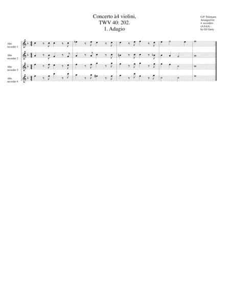 Concerto for 4 violins, TWV 40: 202 (Arrangement for 4 Alto recorders)
