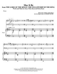 May It Be from THE LORD OF THE RINGS: THE FELLOWSHIP OF THE RING for Piano Trio