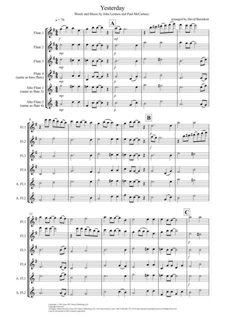 Yesterday for Flute Quartet
