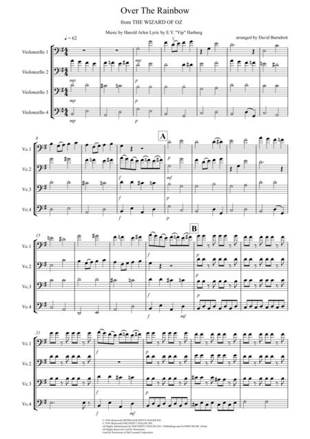 Over The Rainbow (from The Wizard Of Oz) for Cello Quartet