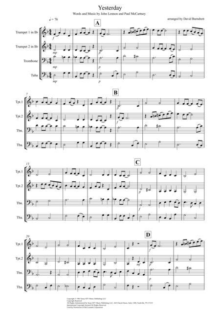 Yesterday for Brass Quartet