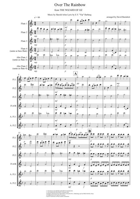 Over The Rainbow (from The Wizard Of Oz) for Flute Quartet