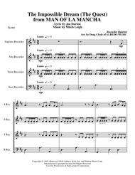 The Impossible Dream (The Quest) from MAN OF LA MANCHA for Recorder Quartet
