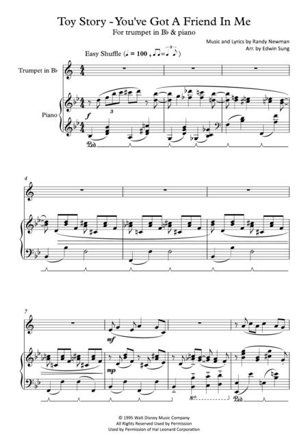 Toy Story - You've Got A Friend In Me (for trumpet and piano, including part score)