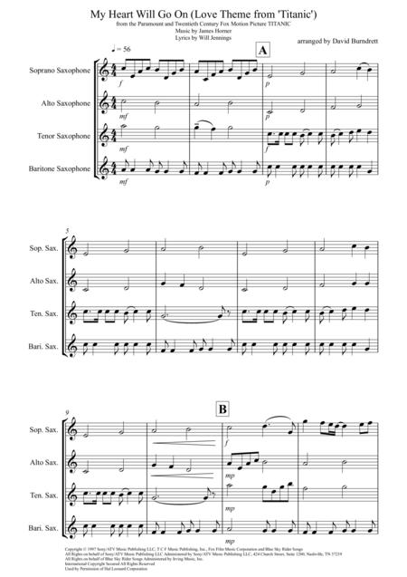 My Heart Will Go On (Love Theme from Titanic) for Saxophone Quartet