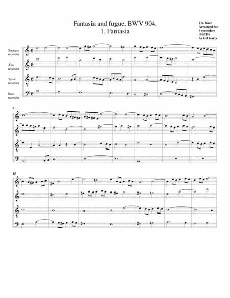 Fantasia and fugue, BWV 904 (arrangement for 4 recorders)