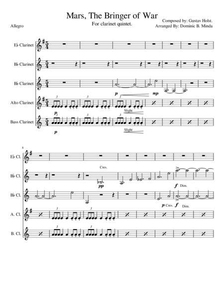 Mars-The Bringer Of War For clarinet Quintet