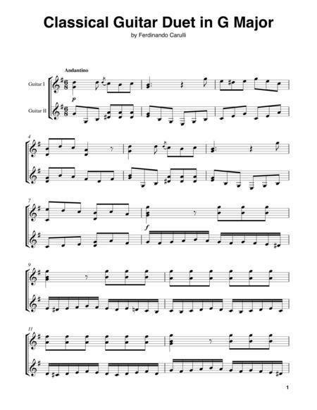 Classical Guitar Duet In G Major By Ferdinando Carulli (1770