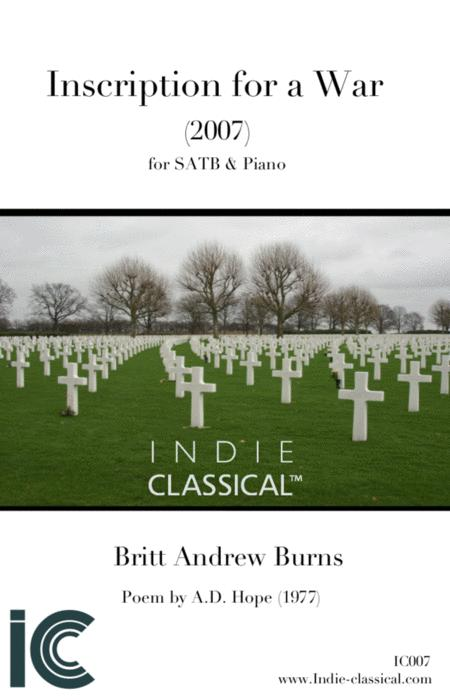 Inscription for a War - for SATB Choir & Piano