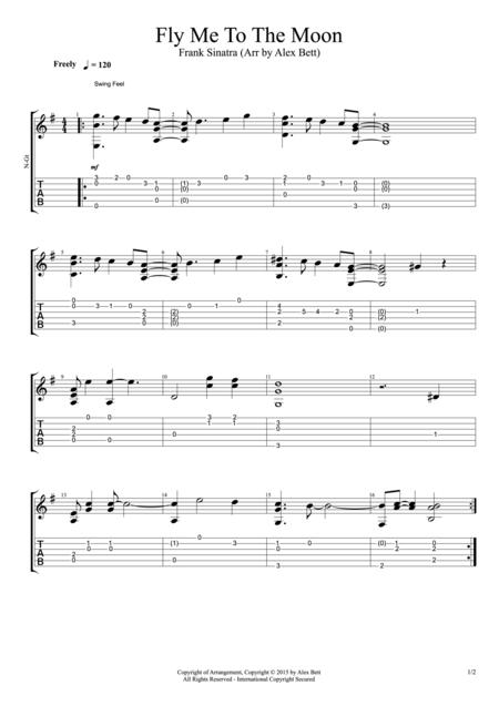 Download Fly Me To The Moon (Fingerstyle Guitar) Sheet Music By Bart ...
