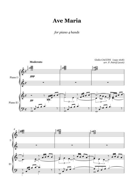 Caccini - AVE MARIA - for piano 4 hands