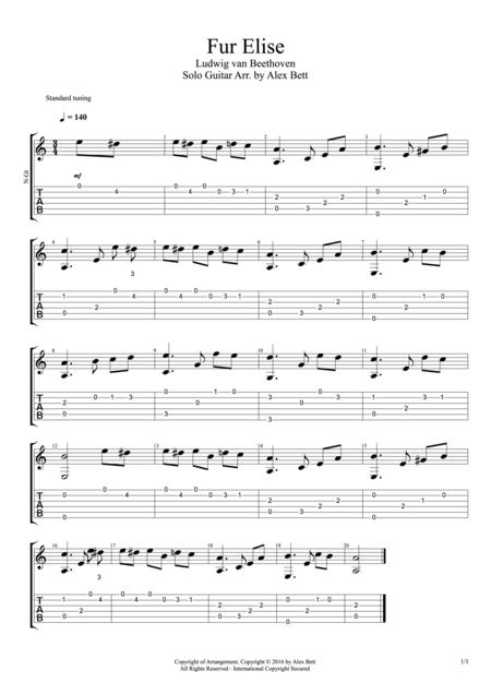 Download Fur Elise Fingerstyle Guitar Sheet Music By Ludwig Van