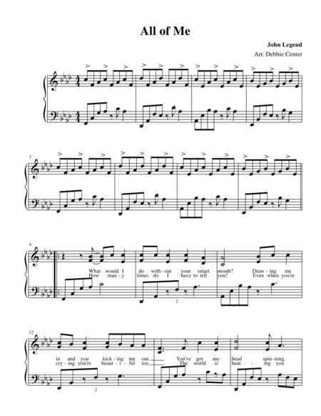 All of Me, by John Legend ~ Advanced Solo Piano Arrangement by Debbie Center
