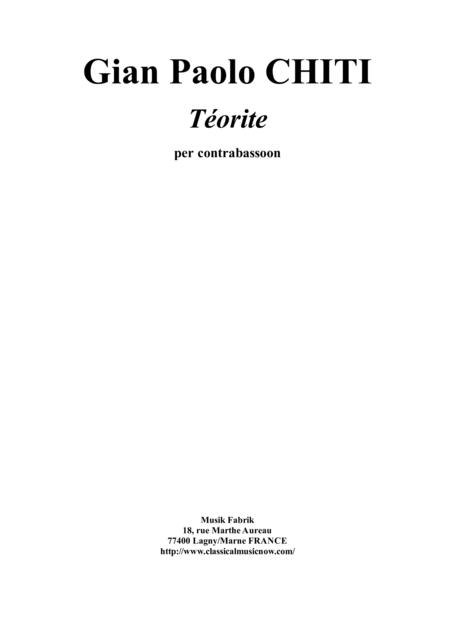 Gian Paolo Chiti: Tenorite for contrabassoon