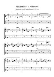 Recuerdos de la Alhambra easy guitar pdf mp3