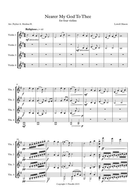 Nearer My God To Thee - For Four Violins