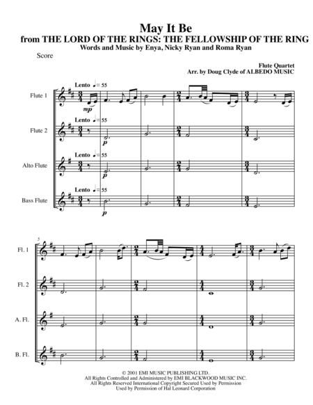 May It Be from THE LORD OF THE RINGS: THE FELLOWSHIP OF THE RING for Flute Quartet