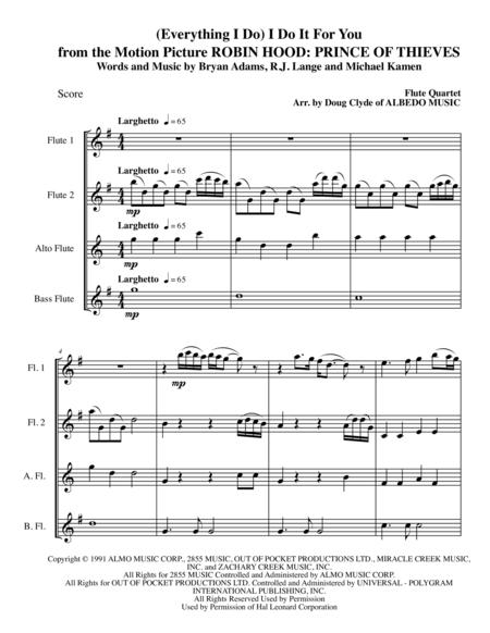 (Everything I Do) I Do It For You from the Motion Picture ROBIN HOOD: PRINCE OF THIEVES for Flute Quartet
