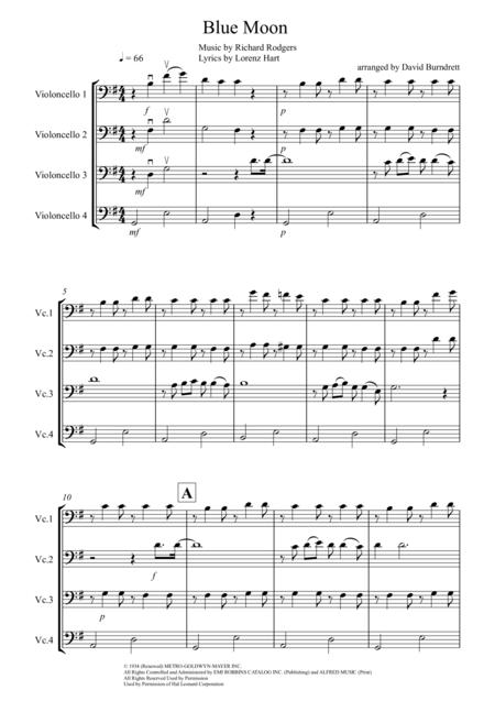 Blue Moon for Cello Quartet