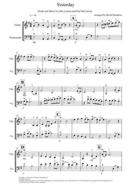 Download Yesterday For Violin And Cello Duet Sheet Music By The