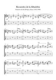 Recuerdos de la Alhambra easy guitar