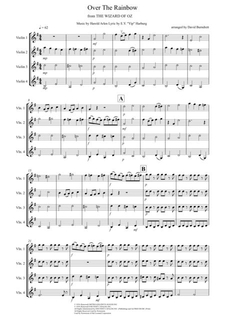 Over The Rainbow (from The Wizard Of Oz) for Violin Quartet