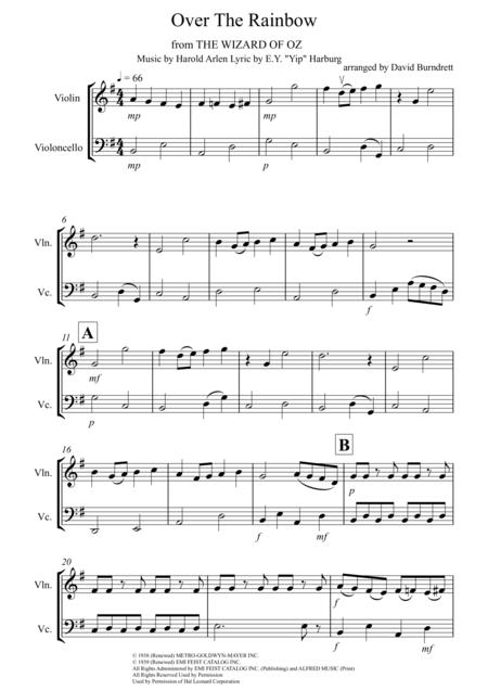 Over The Rainbow (from The Wizard Of Oz) for Violin and Cello Duet