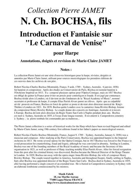 N. Ch. BOCHSA,  fils Introduction et Fantaisie sur