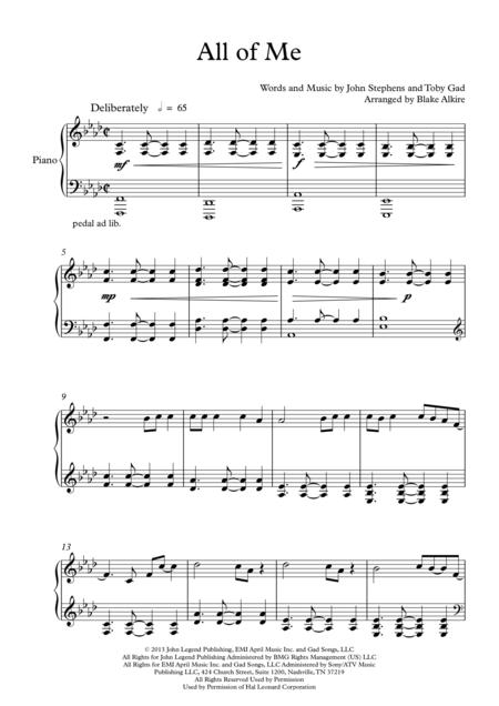 Download All Of Me Piano Solo Sheet Music By John Legend Sheet