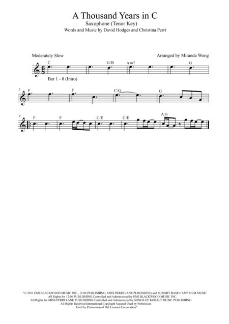 A Thousand Years - Tenor or Soprano Saxophone Solo (Published Key)