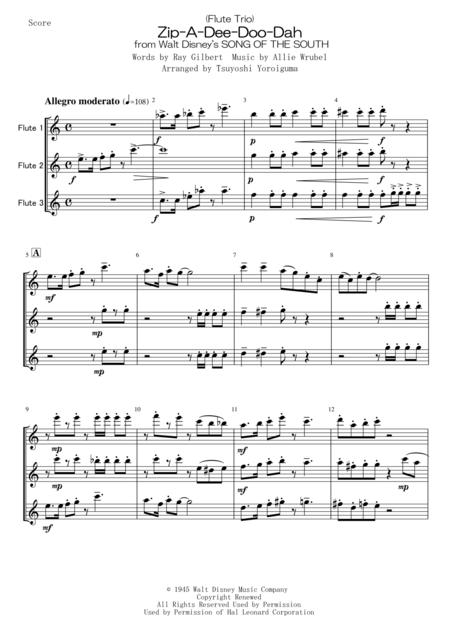 Download (Flute Trio) Zip-A-Dee-Doo-Dah Sheet Music By Ray Gilbert
