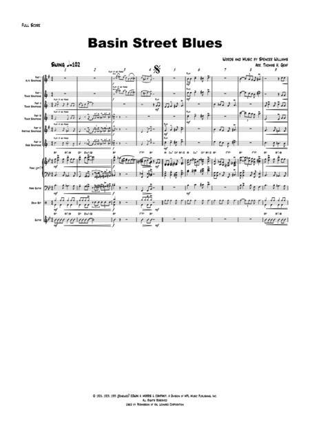 Basin Street Blues - Saxophone Quartet and Band - Jazz (Band optional)