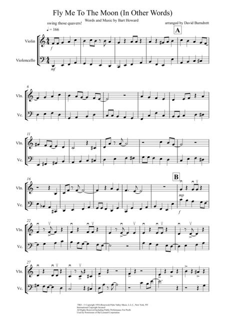Fly Me To The Moon (In Other Words) for Violin and Cello Duet
