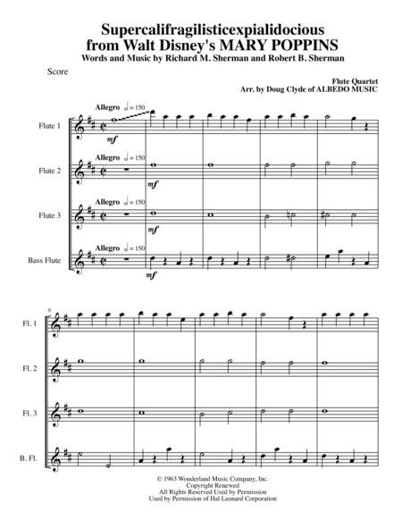 Exceptional Supercalifragilisticexpialidocious From Walt Disneyu0027s MARY POPPINS For  Flute Quartet