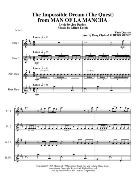 The Impossible Dream (The Quest) from MAN OF LA MANCHA for Flute Quartet