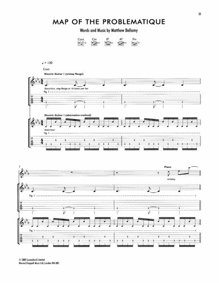 "Muse ""map of the problematique"" guitar tab in c minor download."