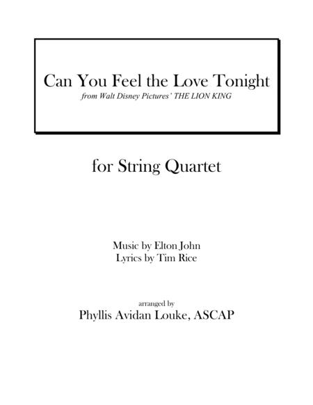 Can You Feel The Love Tonight for String Quartet