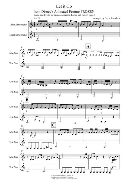 Let It Go (from Frozen) for Alto and Tenor Saxophone Duet