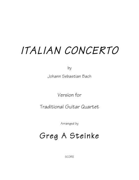 Bach ITALIAN CONCERTO arr. For trad. Guitar Quartet