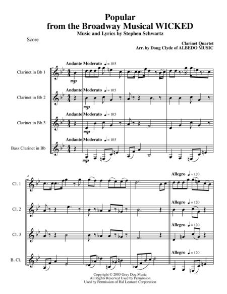Popular from the Broadway Musical WICKED for Clarinet Quartet