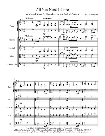 All You Need Is Love for String quartet With Piano part