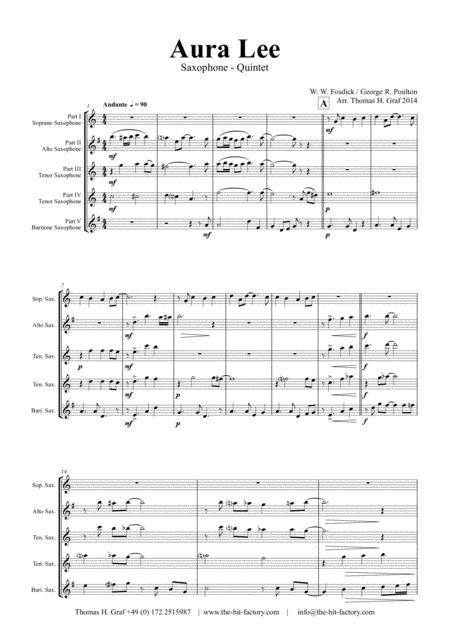 Aura Lee - Love me tender - Elvis - Saxophone Quintet