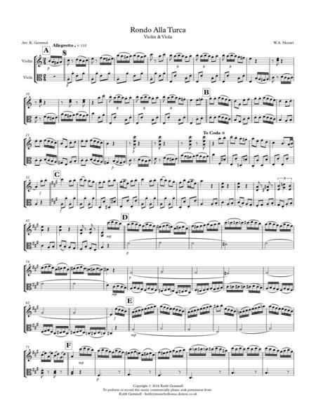 Rondo Alla Turca: Violin & Viola