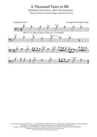 A Thousand Years - Cello Solo in Bb (Published Key)