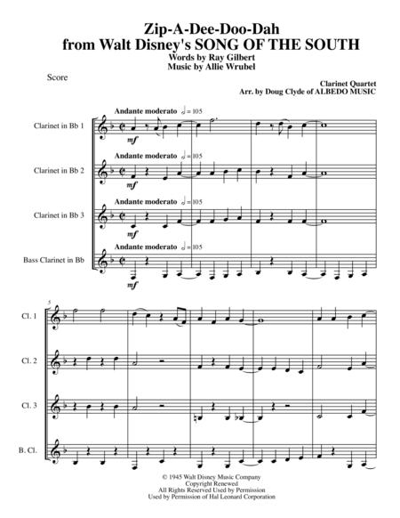 Zip-A-Dee-Doo-Dah from Walt Disney's SONG OF THE SOUTH for Clarinet Quartet