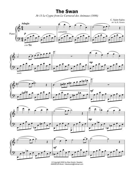Download The Swan For Easy Piano Solo Sheet Music By Camille Saint