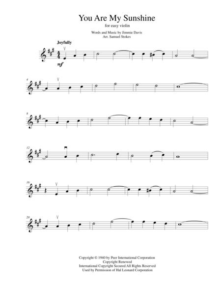 Download You Are My Sunshine - For Easy Violin Sheet Music By Jimmie ...